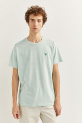 Springfield Short Sleeve Micro Striped T-Shirt for Men, Small, Green