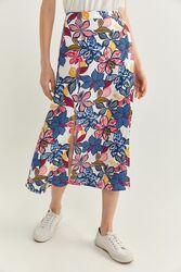 Springfield Printed Midi Slit Skirt, 40 EU, Blue