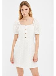 Springfield Square Neck Short Sleeve Knitted Mini Dress, 38 EU, White