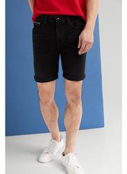 Springfield Denim Bermuda Shorts for Men, 34 EU, Black