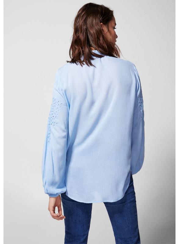 Springfield Plain Long Sleeve Round Neck Blouse for Women, 40 EU, Medium Blue