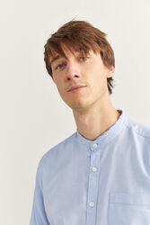Springfield Long Sleeve Dobby Mandarin Shirt for Men, Large, Medium Blue