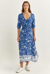 Springfield Three-Quarter Sleeves Asymmetric Floral Maxi Dress, 38 EU, Medium Blue