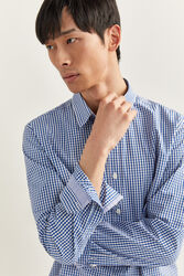 Springfield Long Sleeve Slim Fit Gingham Checked Shirt for Men, Small, Medium Blue