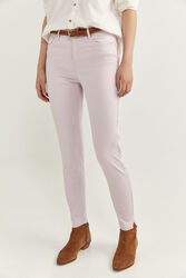 Springfield Satin Cropped Trousers for Women, 40 EU, Light Pink