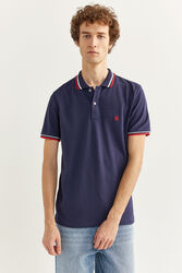 Springfield Short Sleeve Slim Fit Tipped Polo Shirt for Men, Medium, Navy Blue