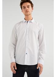 Springfield Long Sleeve Plain Business Shirt for Men, Medium, White