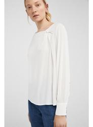 Springfield Plain Long Sleeve Round Neck Blouse for Women, 36 EU, Multicolor