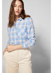 Springfield Long Sleeve Plain Checks Blouse for Women, 40 EU, Medium Blue