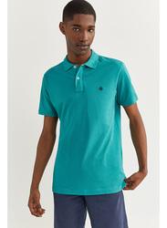 Springfield Short Sleeve Basic Slim Fit Polo Shirt for Men, Medium, Blues