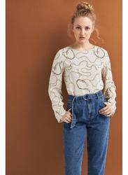 Springfield Plain Long Sleeve Round Neck Blouse for Women, 40 EU, Multicolor