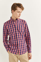 Springfield Long Sleeve Gingham Checked Shirt for Men, Double Extra Large, Red