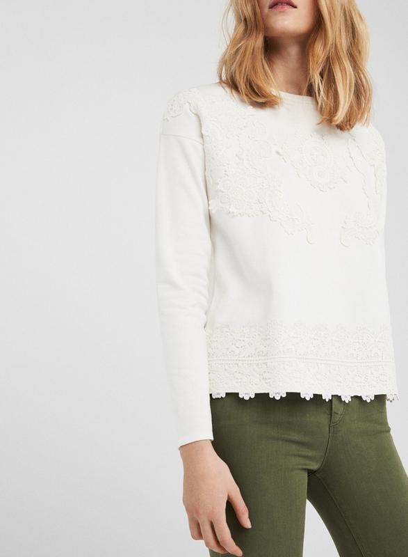 Springfield Long Sleeve Round Neck Sweatshirt for Women, Medium, White Print