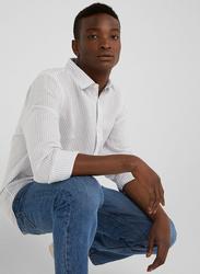 Springfield Long Sleeve Linen Shirt for Men, Small, White