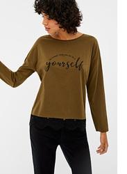 Springfield Long Sleeve Plain Round Neck T-Shirt for Women, Small, Green