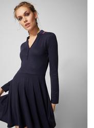 Springfield Fringe Detail Collar Woven Mini Dress, Small, Navy Blue
