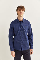 Springfield Long Sleeve Buttoned Neck Printed Shirt for Men, Extra Large, Navy Blue