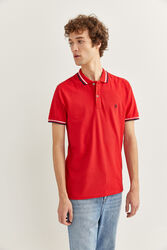 Springfield Short Sleeve Slim Fit Tipped Polo Shirt for Men, Large, Red