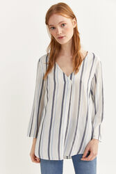 Springfield Long Sleeve V-Neck Striped Blouse for Women, 34 EU, Navy Blue
