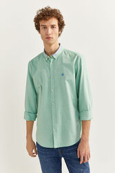 Springfield Long Sleeve Buttoned Collar Pinpoint Shirt for Men, Double Extra Large, Green