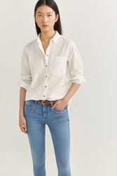Springfield Long Sleeve Linen Shirt for Women, 36 EU, White