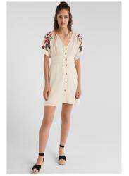 Springfield V-Neck Button Details Knitted Mini Dress, 38 EU, Off White