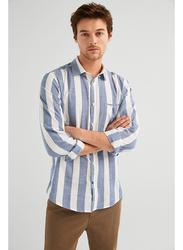 Springfield Long Sleeve Striped Sport Casual Shirt for Men, Medium, Navy Blue