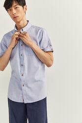 Springfield Short Sleeve Dobby Shirt for Men, Medium, Light Blue