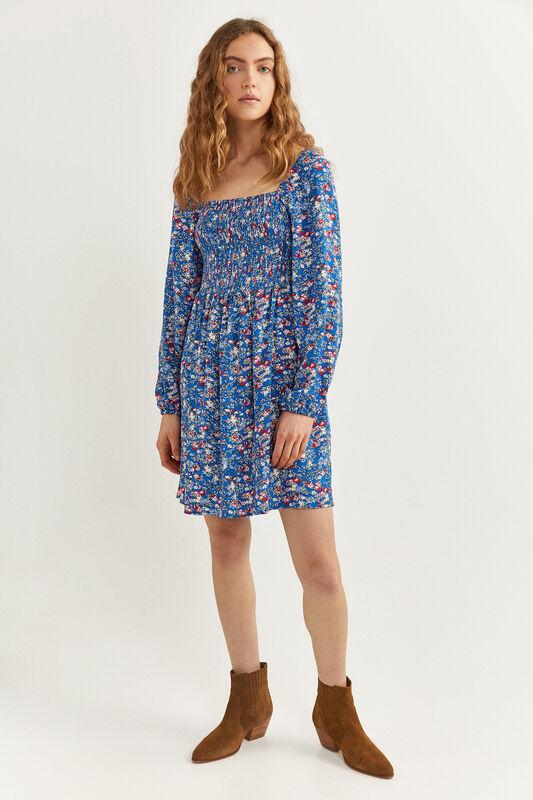 Springfield Long Sleeve Smock Mini Dress, 44 EU, Medium Blue