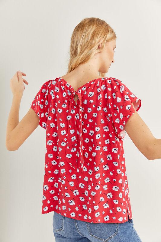 Springfield Long Flounced Sleeve Blouse for Women, 40 EU, Orange