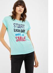 Springfield Short Sleeve Fancy Round Neck T-Shirt for Women, Medium, Medium Blue