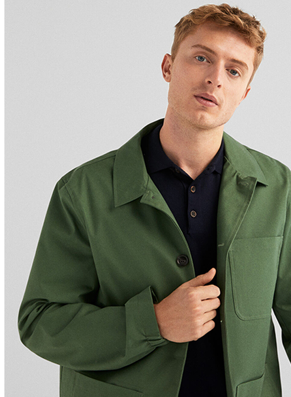 Springfield Long Sleeve Basic Cotton Sport Jacket for Men, Large, Green