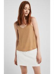 Springfield Fancy Sleeveless T-Shirt for Women, Small, Beige/Camel