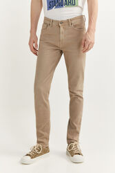Springfield 5-Pocket Skinny Fit Washed Trousers for Men, 28 EU, Beige