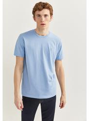 Springfield Basic Short Sleeve Round Neck T-Shirt for Men, Small, Light Blue