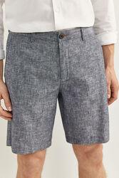 Springfield Two-Tone Linen Bermuda Shorts for Men, 40 EU, Medium Blue