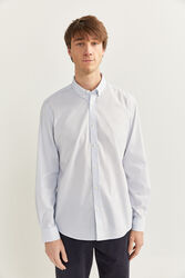 Springfield Long Sleeve Striped Slim Fit Shirt for Men, Small, White