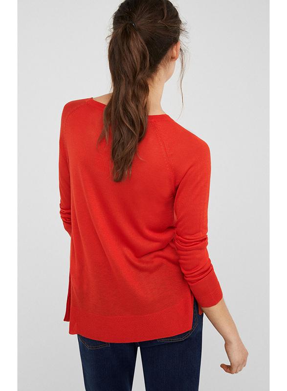 Springfield Long Sleeve Round Neck Knit Sweatshirt for Women, Medium, Orange