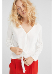 Springfield Plain Long Sleeve V-Neck Blouse for Women, 42 EU, Multicolor