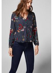 Springfield Long Sleeve Plain Striped Blouse for Women, 40 EU, Light Blue