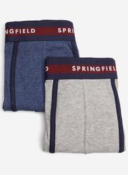 Springfield 2-Piece Heathered Effect Underwear Set for Men, Blue/Grey, Medium