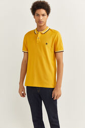 Springfield Short Sleeve Slim Fit Tipped Polo Shirt for Men, Triple Extra Large, Mustard