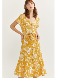 Springfield Leaf Printed Knitted Midi Dress, 42 EU, Yellow