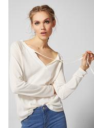 Springfield Long Sleeve Plain T-Shirt for Women, Large, Ivory