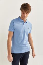 Springfield Short Sleeve Slim Fit Pique Polo Shirt for Men, Large, Blue