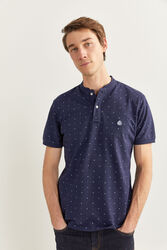 Springfield Short Sleeve Slim Fit Mandarin Collar Printed Pique Polo Shirt for Men, Extra Small, Navy Blue
