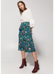 Springfield Flower Printed Midi Skirt, 34 EU, Green