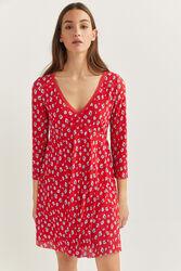 Springfield Three-Quarter Sleeve Printed Flounced Short Dress, Small, Red