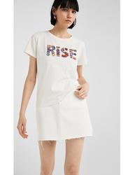 Springfield Short Sleeve Fancy Round Neck T-Shirt for Women, Medium, Light Khaki