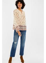 Springfield Plain Long Sleeve V-Neck Blouse for Women, 34 EU, Beige/Camel